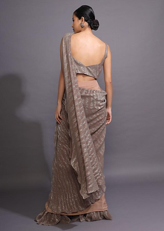 Taupe Brown Ready Pleated Saree With Shimmer Lycra Pallu And Frill On The Hem Online - Kalki Fashion