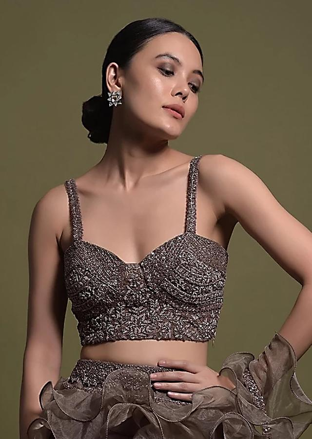 Taupe Brown Sleeveless Crop Top Hand Embellished With Zardosi And Cut Dana Work Online - Kalki Fashion