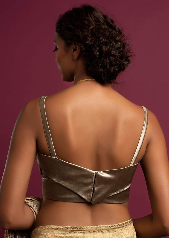 Taupe Gold Blouse In Satin In An Overlap Pattern With Plunging Neckline Online - Kalki Fashion