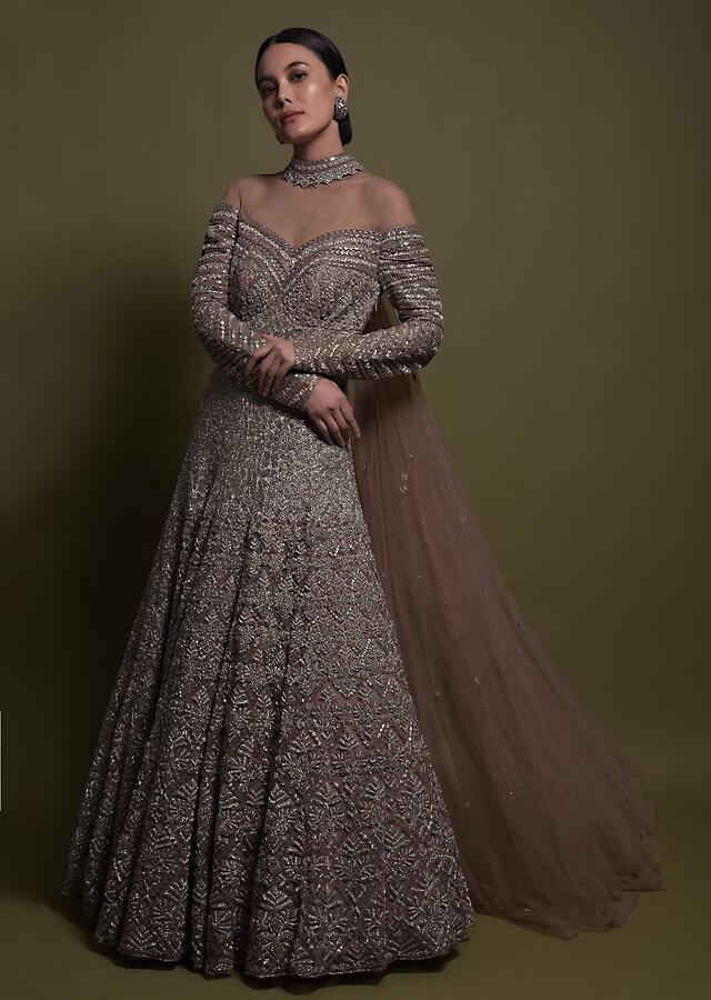 Taupe Grey Anarkali gown In Net Hand Embellished With Sequins And Cut Dana In Geometric Pattern Online - Kalki Fashion