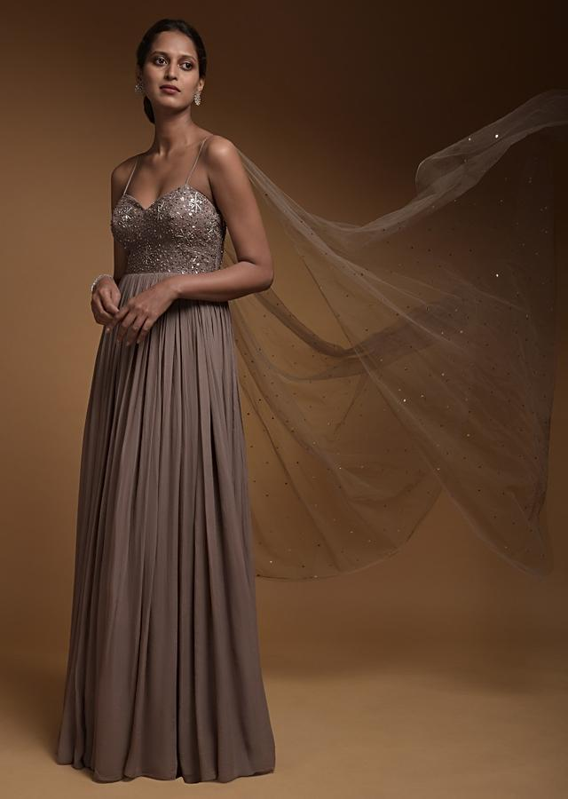 Taupe Grey Indowestern Gown In Georgette With Embellished Snowflake Motifs And Attached Net Dupatta Online - Kalki Fashion