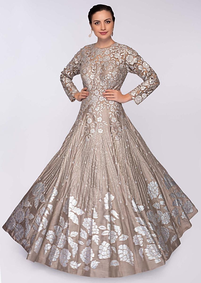 Buy Taupe Grey Gown In Raw Silk With Embroidered Net Bodice Online - Kalki  Fashion