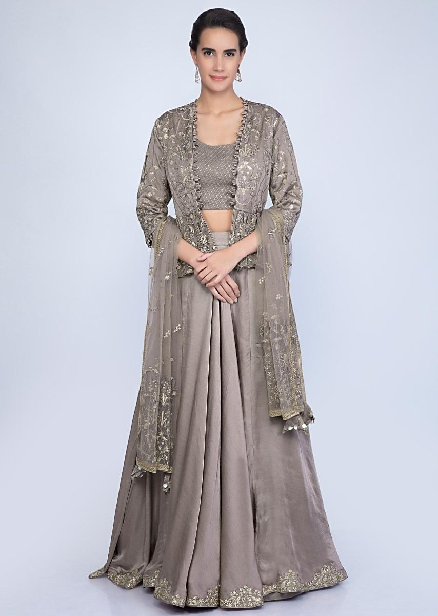 d491de9af824b Taupe lehenga and blouse with matching embroidered net dupatta and a fancy  jacket only on KalkiMore Detail