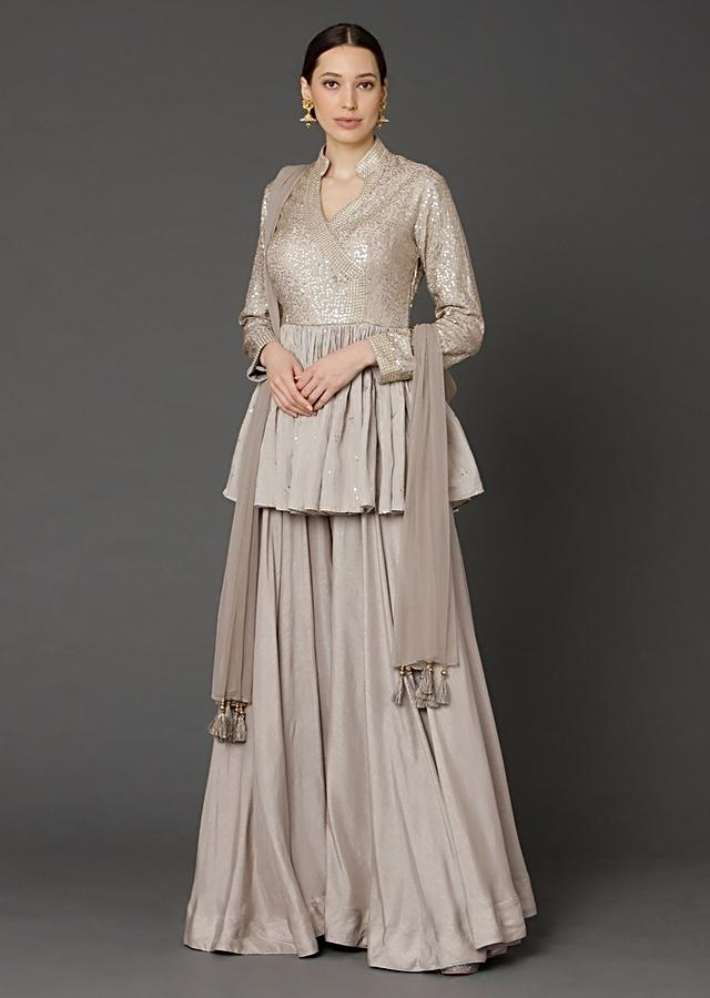 Taupe Peplum Top And Flared Palazzo Pants With Sequins Work Online - Kalki Fashion