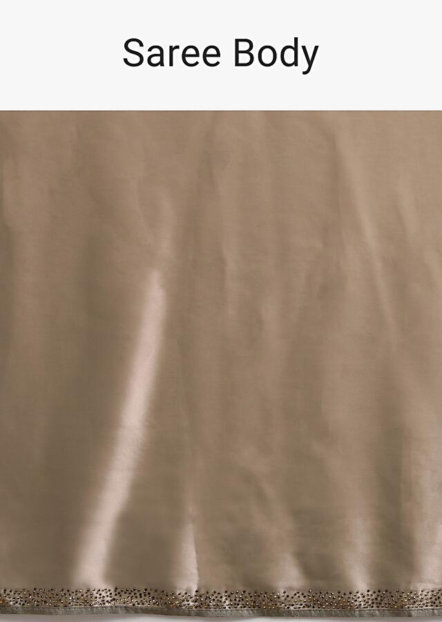 Taupe Saree In Satin With Kunan Embellished Stripes And Unstitched Blouse Online - Kalki Fashion