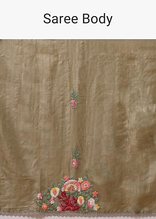 Taupe Saree In Tussar Silk With Bud Embroidered Floral Motifs Using Colorful Thread And Crochet Lace On The Border Online - Kalki Fashion