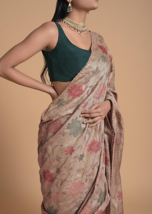 Taupe Saree In Tussar Silk With Colorful Thread Embroidered Floral Jaal Design Online - Kalki Fashion
