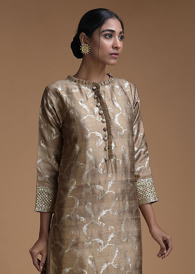 Taupe Sharara Suit With Weaved Jaal And Pleated Frill Online - Kalki Fashion