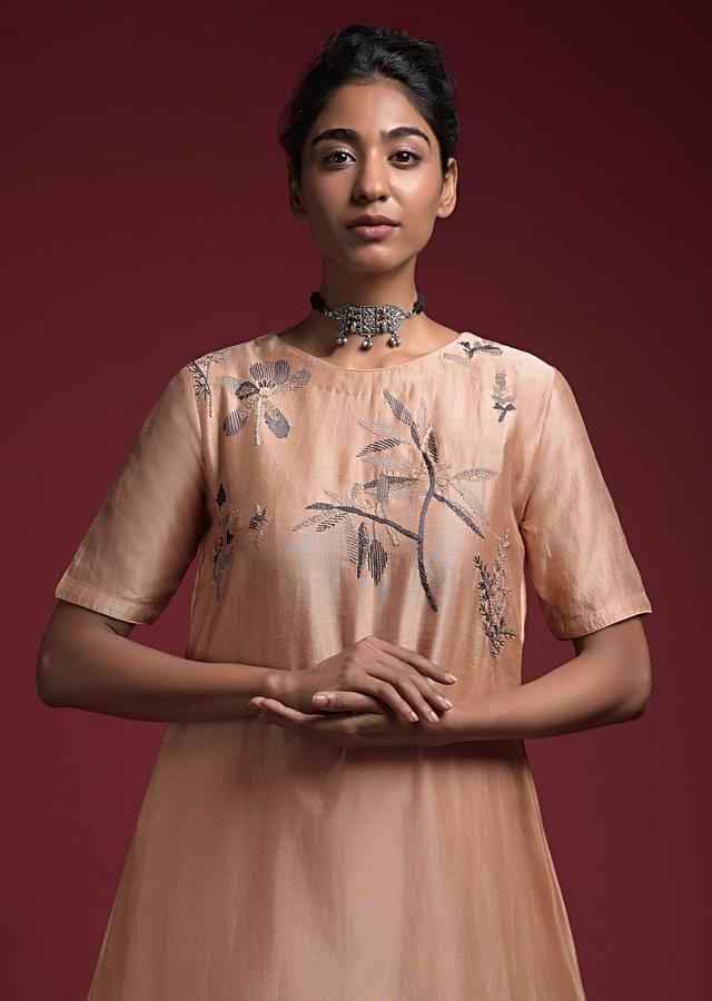 Taupe Straight Cut Suit In Cotton With Thread Embroidered Floral Motifs On The Yoke Online - Kalki Fashion