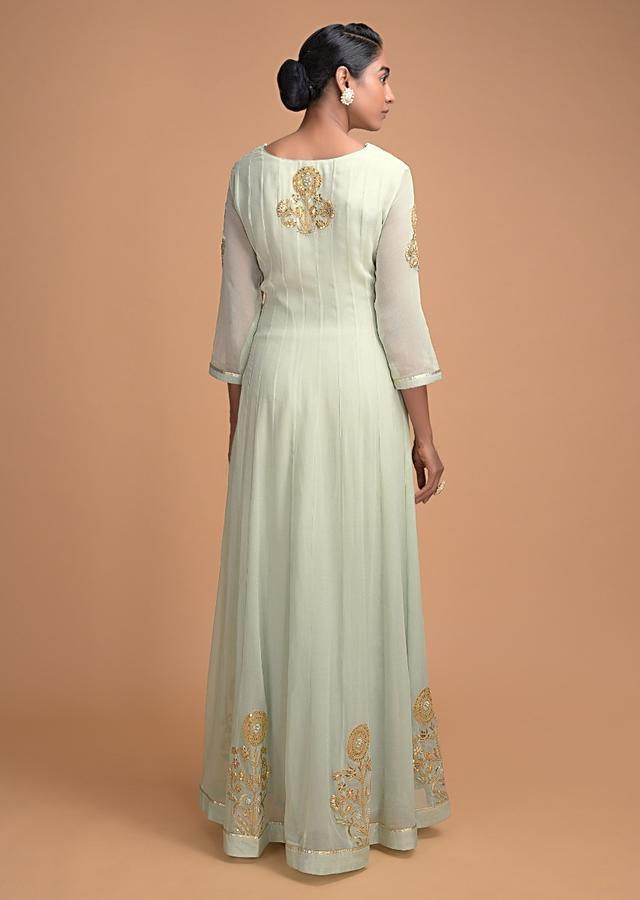 Tea Green Anarkali Suit With Embroidered Floral Motifs On The Bodice And Hemline Online - Kalki Fashion