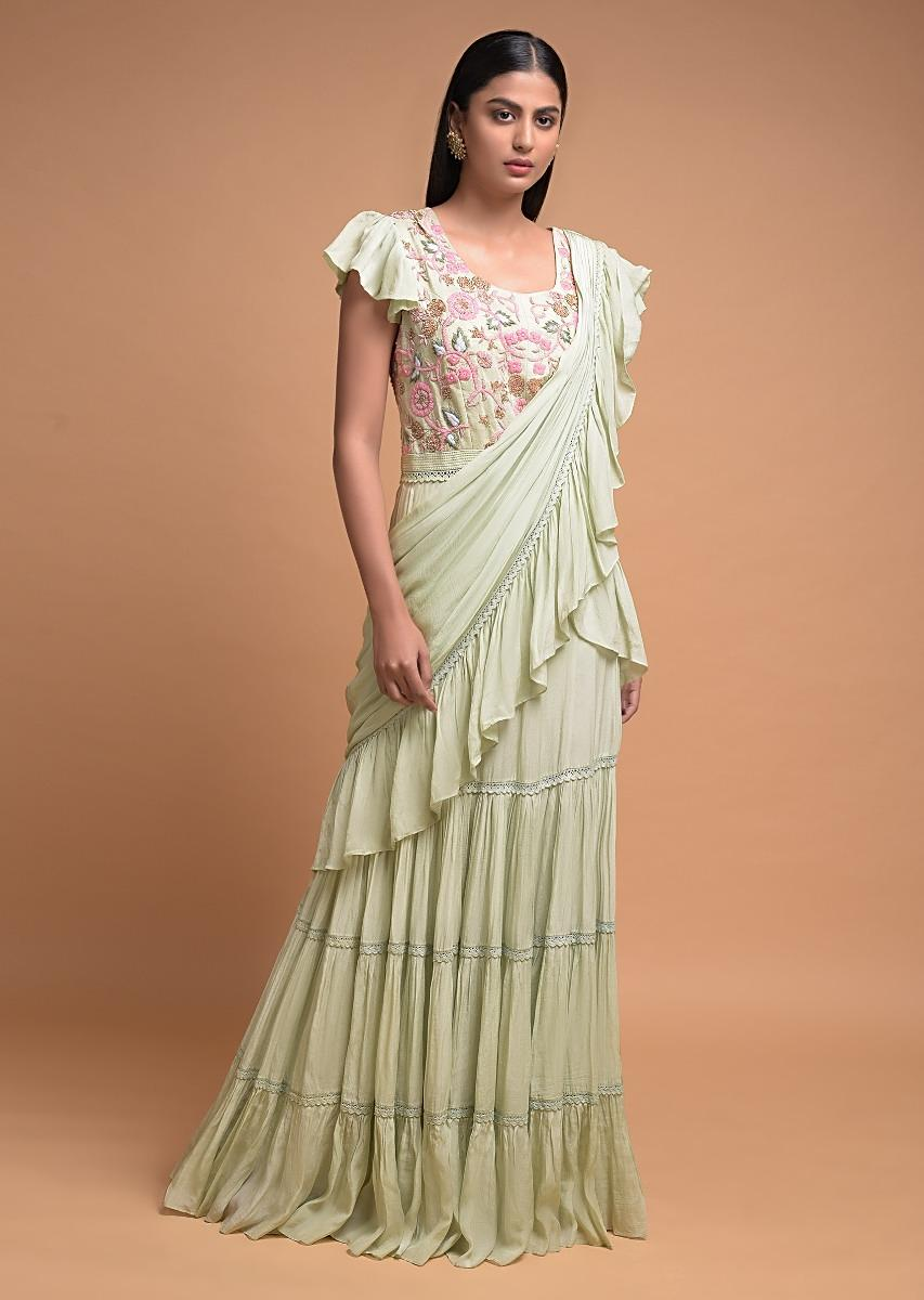 Buy Tea Green Indowestern Gown In Crepe With Tiered Hemline Attached Ruffle Drape Online Kalki Fashion