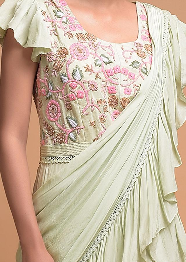 Tea Green Indowestern suit In Crepe With Tiered Hemline Attached Ruffle Drape Online - Kalki Fashion
