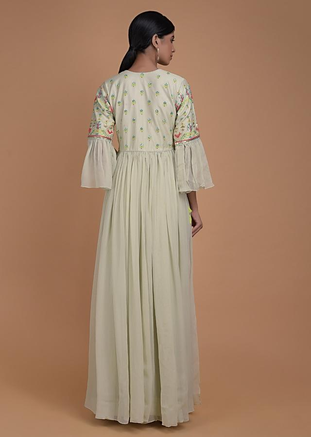 Tea Green Palazzo Suit In Georgette With Beads And Thread Embroidered Bodice Online - Kalki Fashion