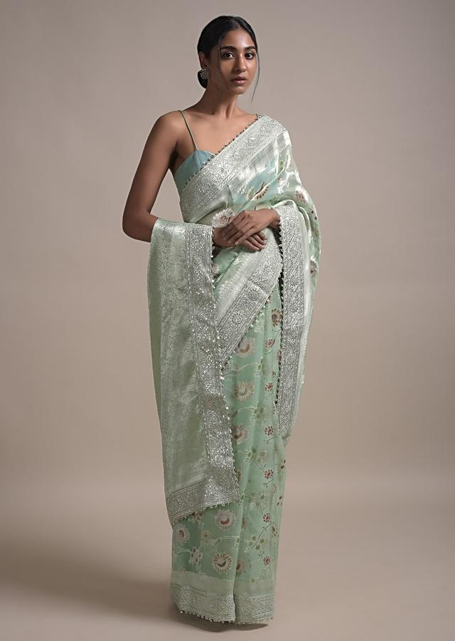 Tea Green Saree In Organza With Weaved Floral Jaal And Gotta Embroidered Border Online - Kalki Fashion