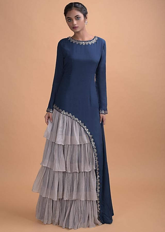 Teal  Long Dress In Crepe With Asymmetric Cut And Cloud Grey Layered Details Online - Kalki Fashion