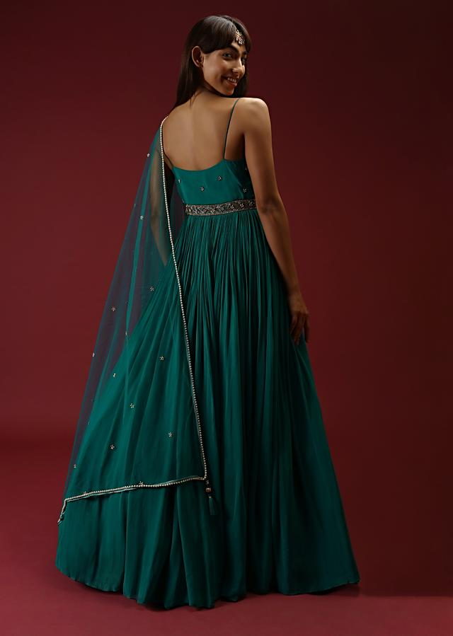 Teal Anarkali Suit In Georgette With Multi Colored Sequins Embroidered Floral Buttis And Cut Dana Embellished Waistline Online - Kalki Fashion