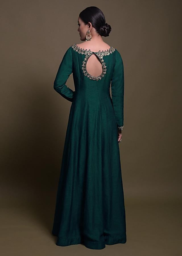 Teal Anarkali Suit In Silk With Zardozi And Cut Dana Embroidered Leaf Motifs Online - Kalki Fashion