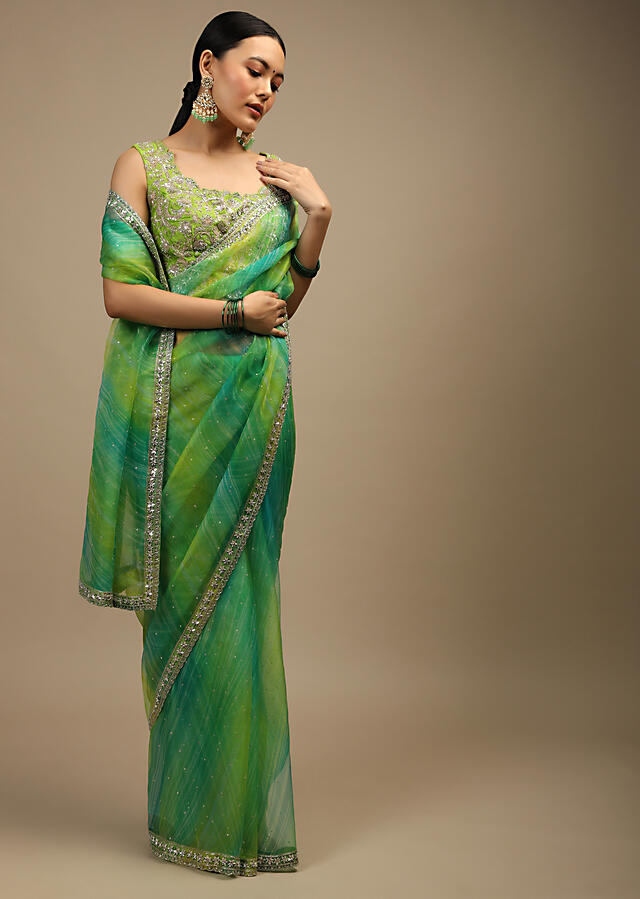 Teal And Lime Shaded Saree In Organza With Lehariya Print, Sequin Accents And Lime Raw Silk Blouse With Embroidered Jaal Online - Kalki Fashion