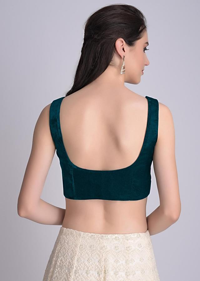 Teal Blouse In Velvet With Front Zip Opening Online - Kalki Fashion