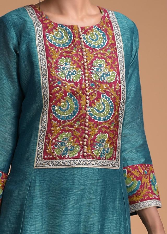 Teal Blue A Line Suit In Cotton Silk With Self Geometric And Block Print Online - Kalki Fashion