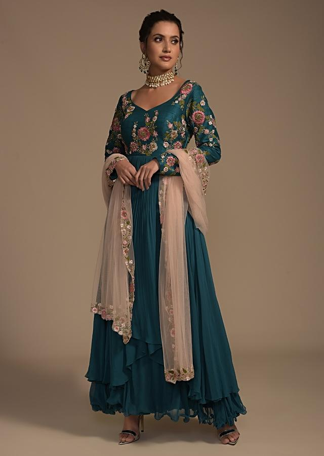 Teal Blue Anarkali Suit With Colorful Resham And Cut Dana Embroidered Floral Blossoms Online - Kalki Fashion