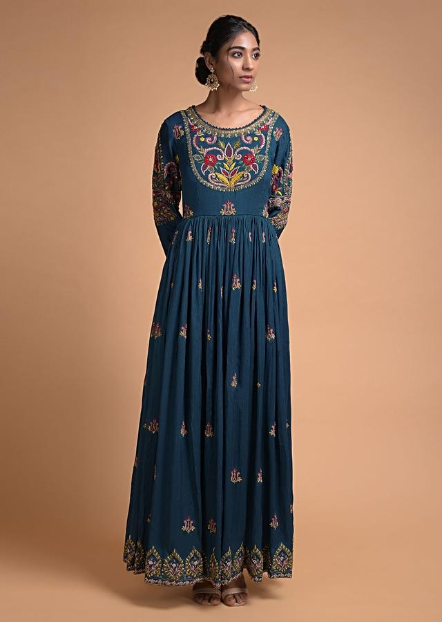 Teal Blue Anarkali Suit With Thread Embroidered Floral Motifs And Amber Yellow Organza Dupatta Online - Kalki Fashion