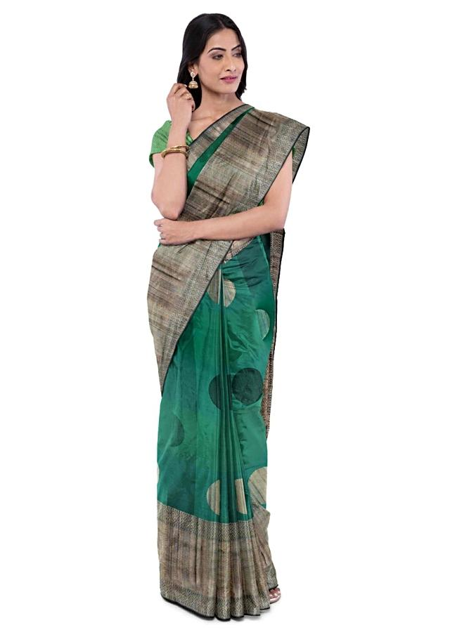 Teal Blue And Green Saree In Banarasi Silk With Weaved Jute Details And Round Buttis Online - Kalki Fashion