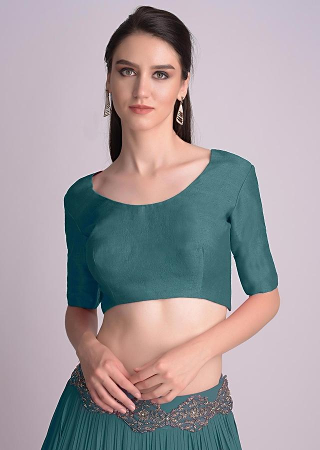 Teal Blue Blouse With Half Sleeves And Round Neckline  Online - Kalki Fashion