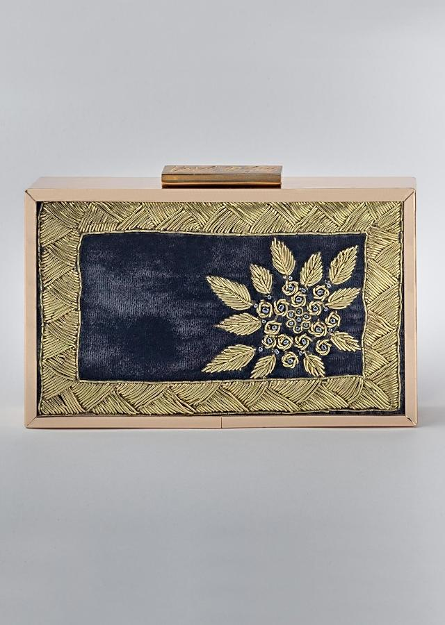 Teal Blue Box Clutch In Velvet Heavily Embroidered With Zardozi And Pearls By Vareli Bafna