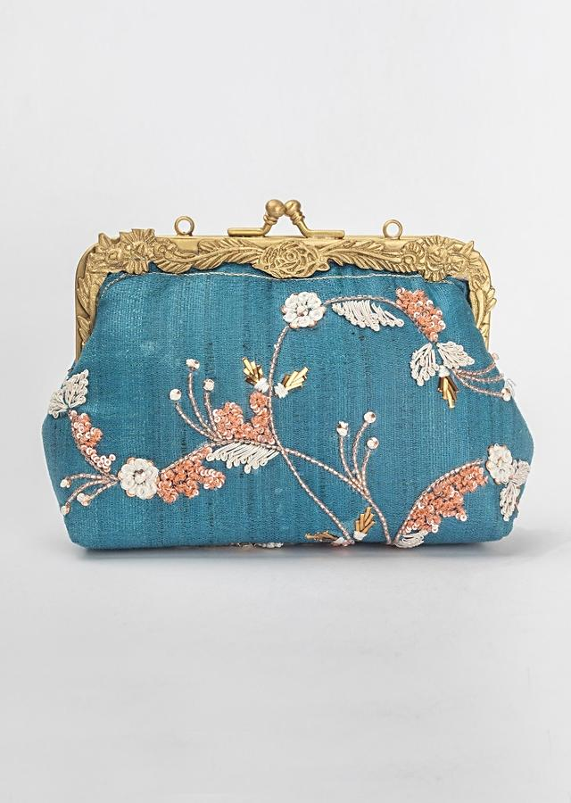 Teal Blue Clutch In Khadi Silk With Thread And Sequins Embroidered Floral Pattern By Vareli Bafna