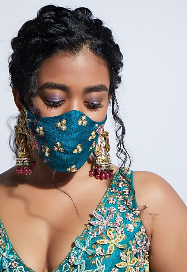 Teal Blue Face Mask With Sequins, Moti And Resham Embroidered Floral Moti And Buttis Online - Kalki Fashion