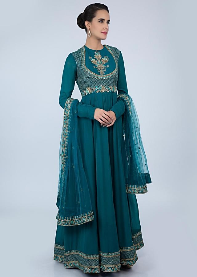 Teal Blue A Line Anarkali In Georgette With Embroidered Bodice Online - Kalki Fashion