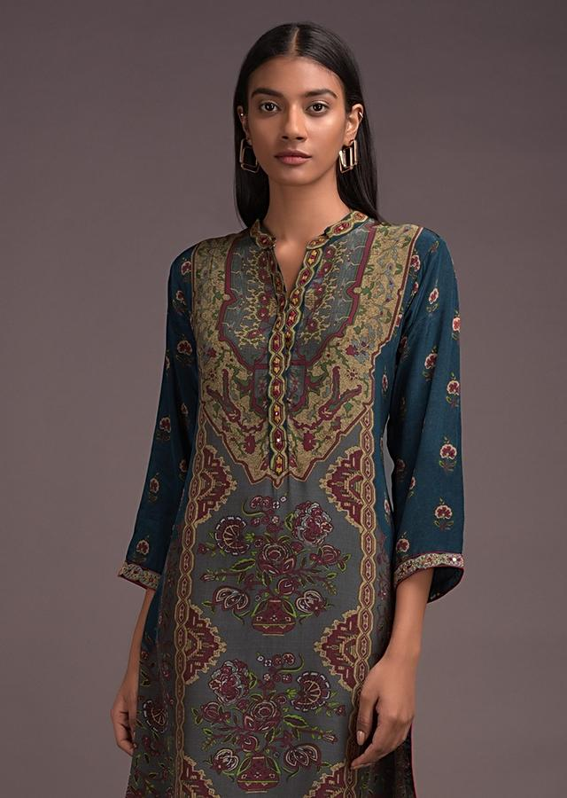 Teal Blue Green Kurta In Crepe With Ethnic Flower Pot Print Online - Kalki Fashion