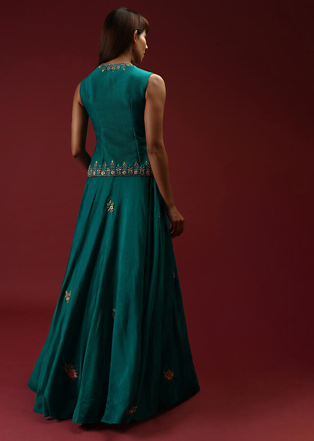 Teal Blue Lehenga And Long Top In Raw Silk With Multi Colored Resham And Moti Embroidered Floral Design Online - Kalki Fashion