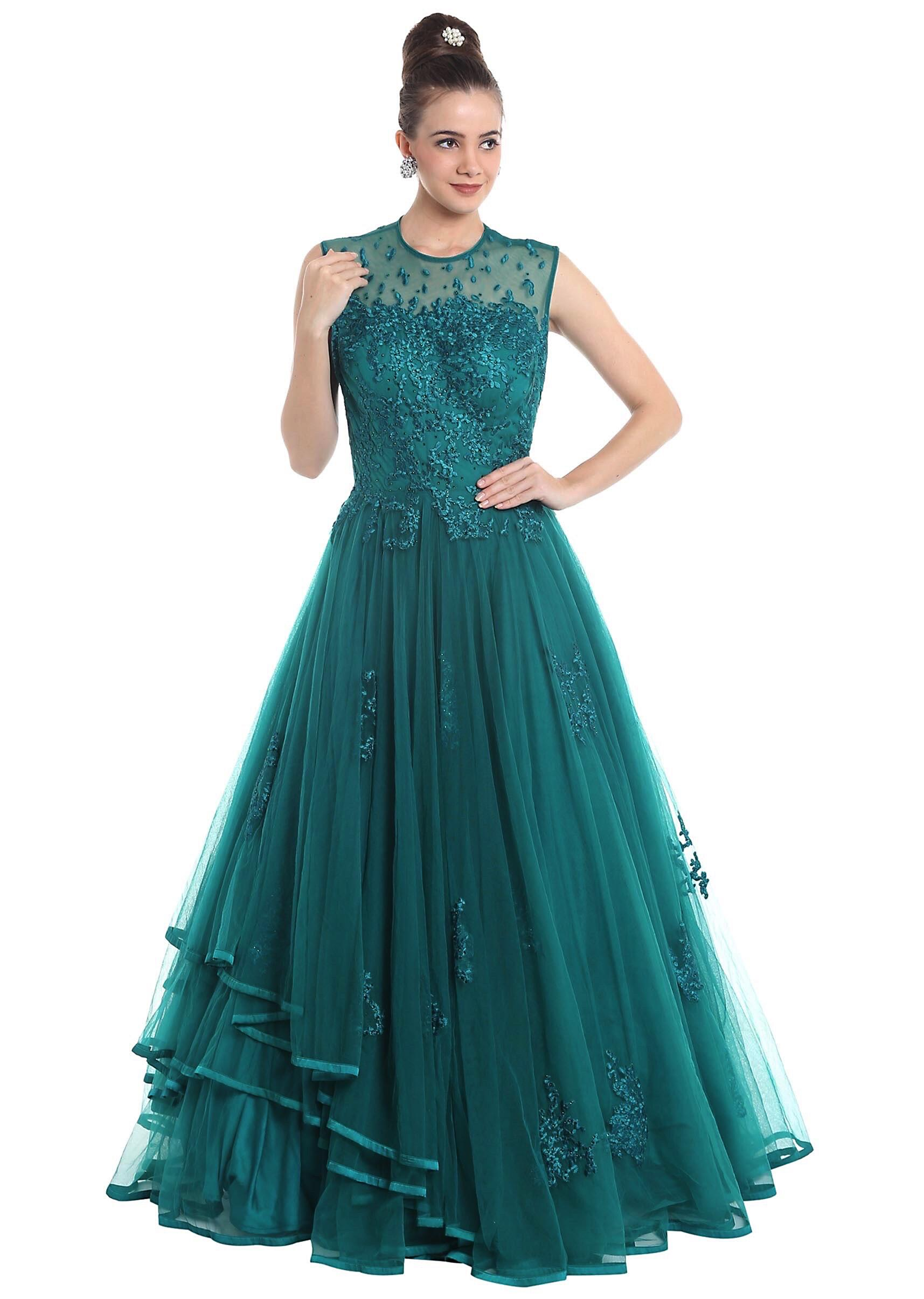4beb8f4d1a Charlie Chauhan in Kalki teal blue net gown studded with stones
