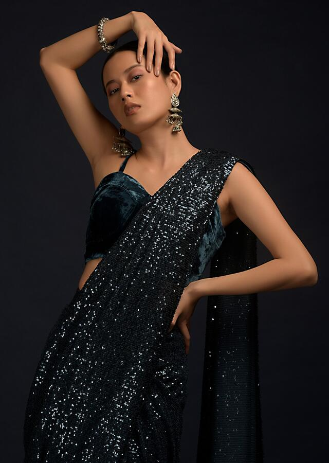Teal Blue Ready Pleated Saree In Sequins Fabric With A Matching Velvet Blouse With Corset Neckline Online - Kalki Fashion