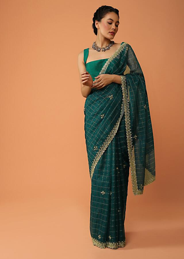 Teal Blue Saree In Organza With Woven Zari Checks And Sequin Embroidered Buttis And Border Online - Kalki Fashion