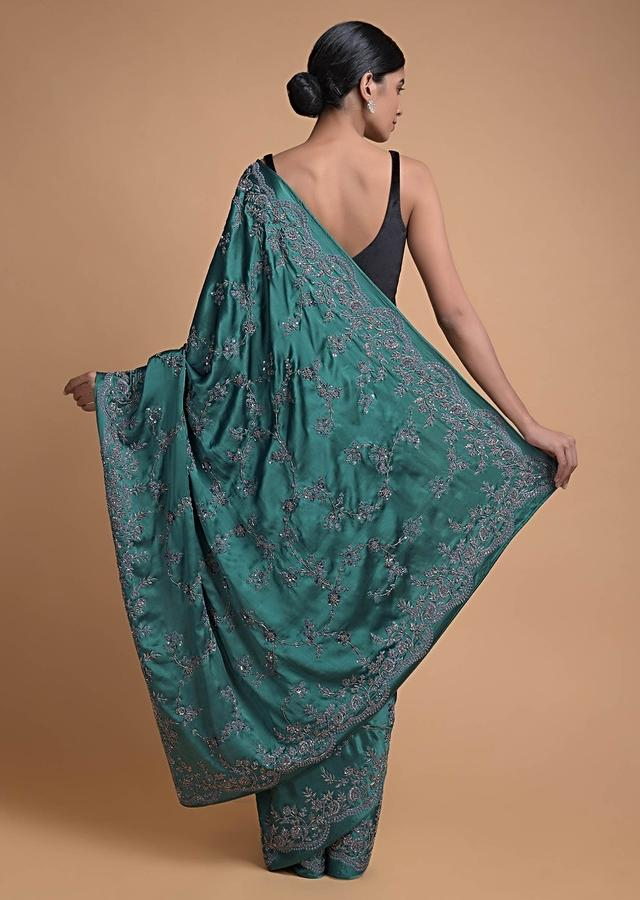 Teal Blue Saree In Satin With Floral Jaal Embroidery Online - Kalki Fashion