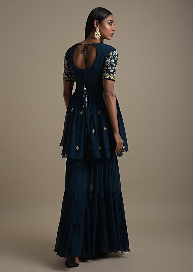 Teal Blue Sharara Suit With Peplum Kurti With Gotta And Colorful Thread Embroidery Online - Kalki Fashion