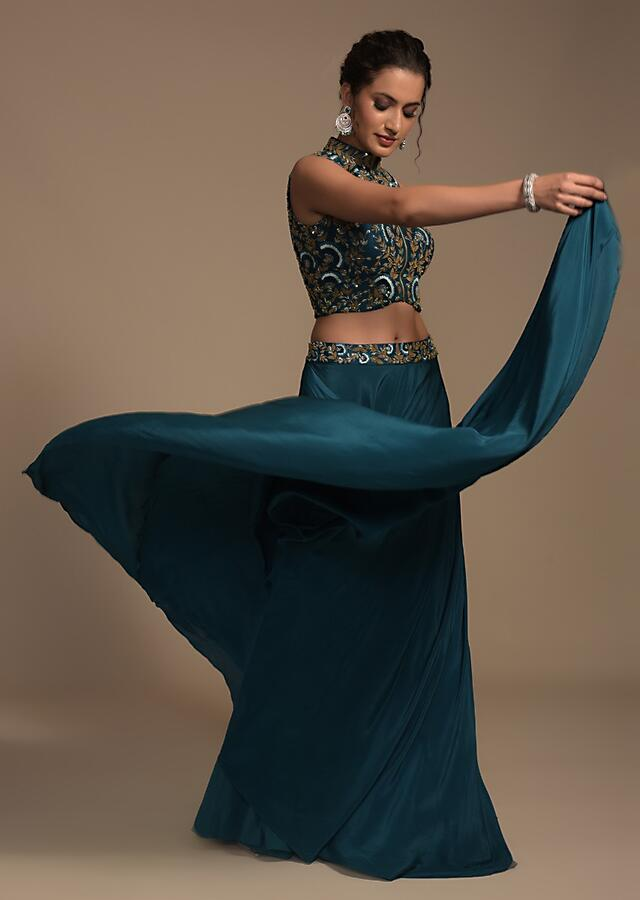 Teal Blue Skirt And Crop Top Set With Resham And Zardosi Embroidered Floral Jaal Online - Kalki Fashion