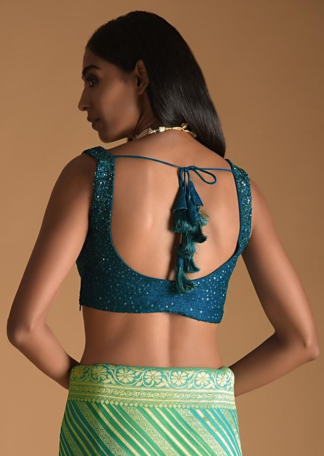 Teal Blue Sleeveless Blouse In Raw Silk With Scooped Neckline And Sequins Work Online - Kalki Fashion