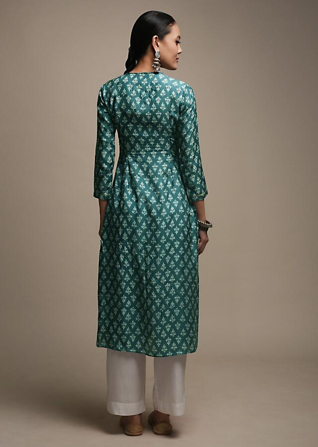 Teal Blue Straight Cut Kurti In Cotton With Floral Buttis And Gotta Patti Embroidered Floral Design On The Placket Online - Kalki Fashion