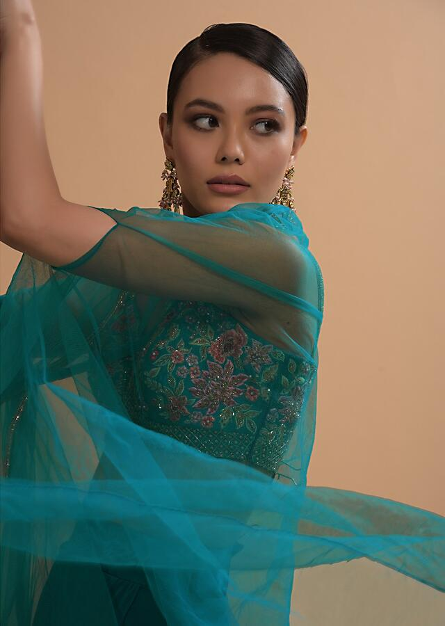 Teal Drape Skirt And Crop Top With Matching Cape And Colorful Resham Embroidered Spring Blooms Online - Kalki Fashion