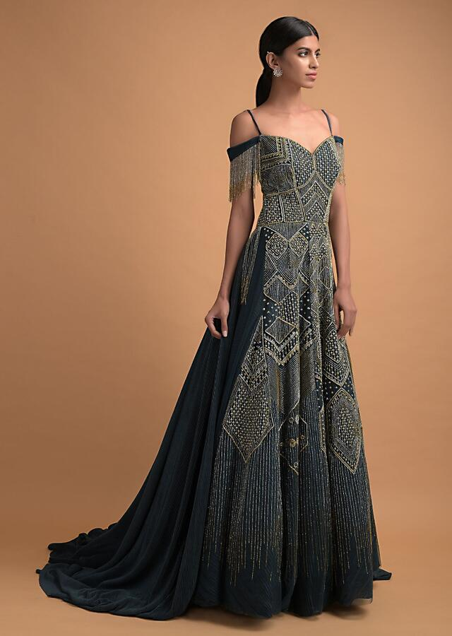 Teal Gown In Crushed Lycra With Cut Dana Embellished Top Layer In Net And Off Shoulder Neckline Online - Kalki Fashion