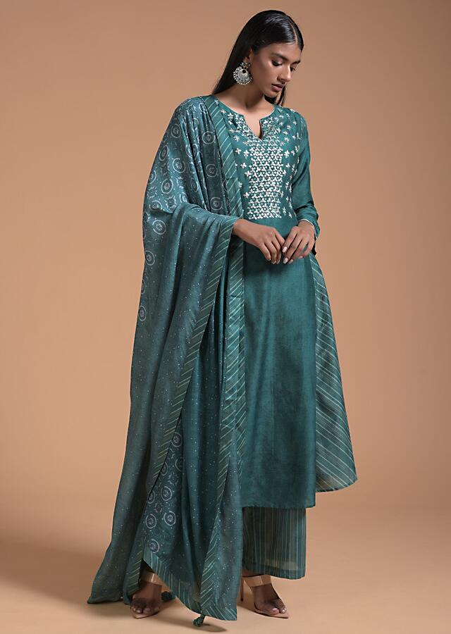 Teal Green A Line Suit In With Printed Stripes On The Side And Sequins Embroidery Online - Kalki Fashion