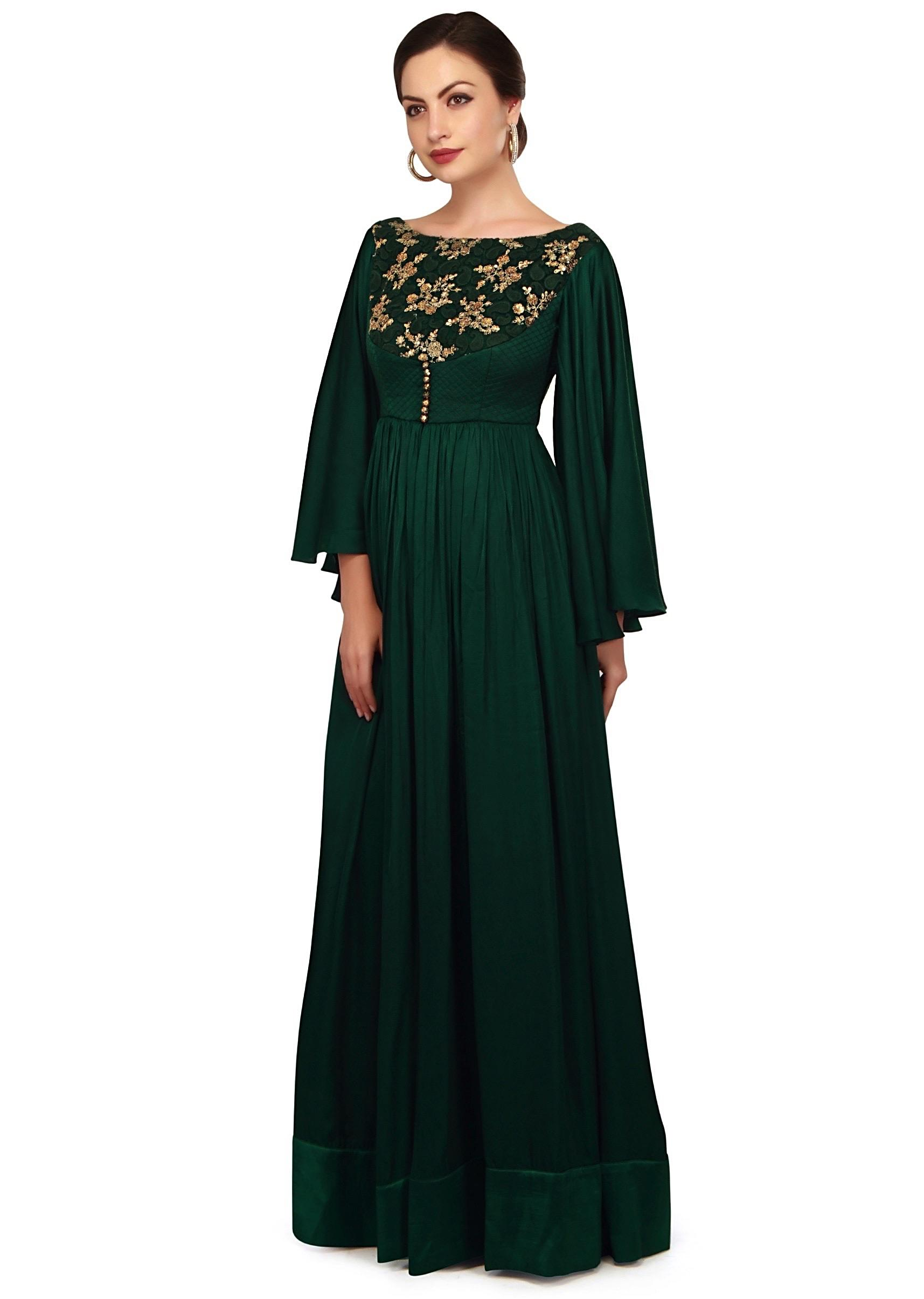 fc762df56d Teal green anarkali suit with bell sleeve and front slit only on Kalki