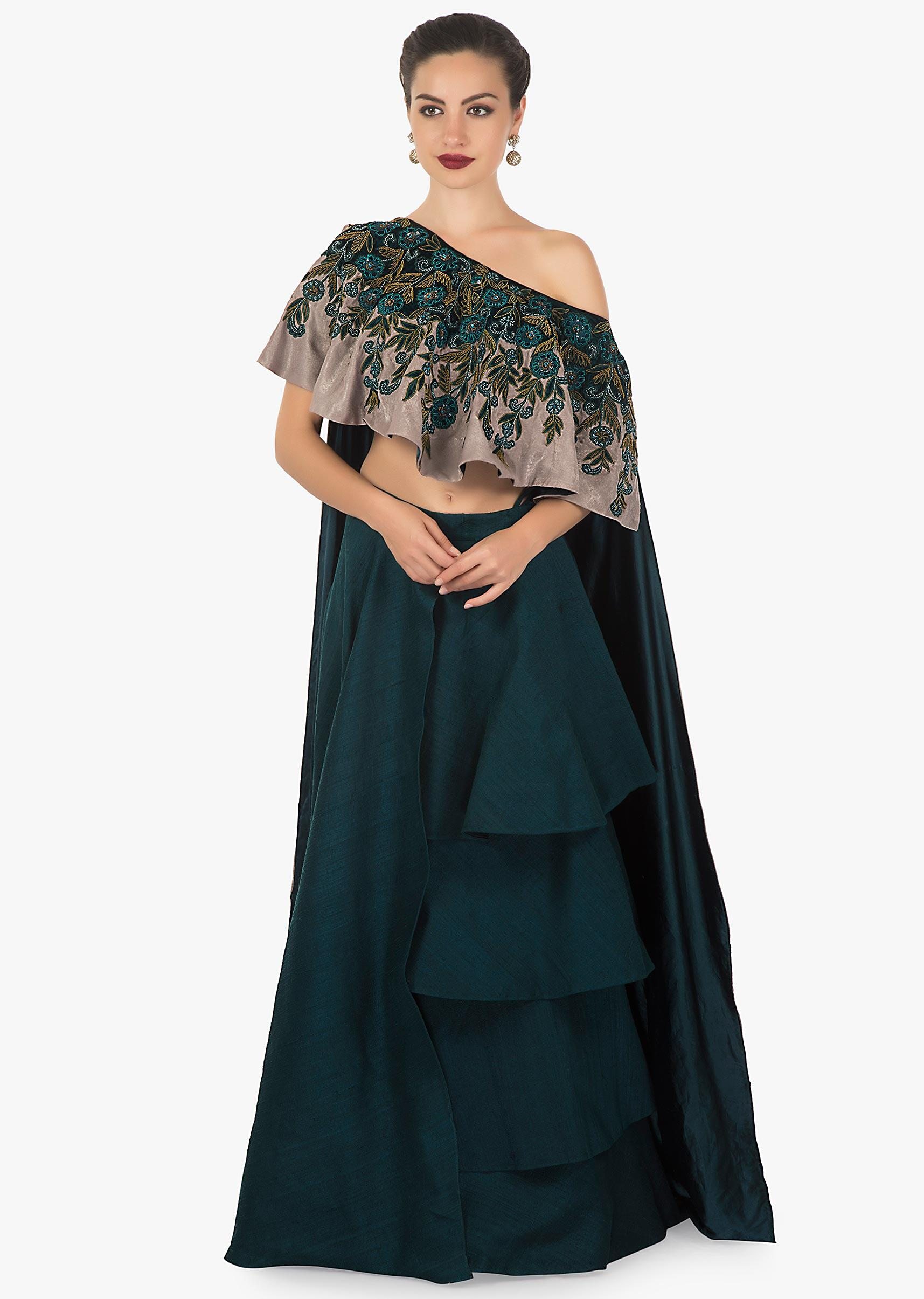 09453d06a5 Teal green layered skirt matched with fancy cape blouse in velvet applique  work only on kalkiMore Detail