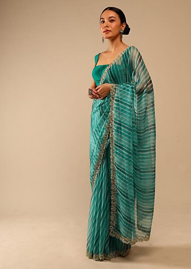 Teal Green Saree In Organza With Lehariya Print And Hand Embroidered Border With Beads And Sequins Work Online - Kalki Fashion