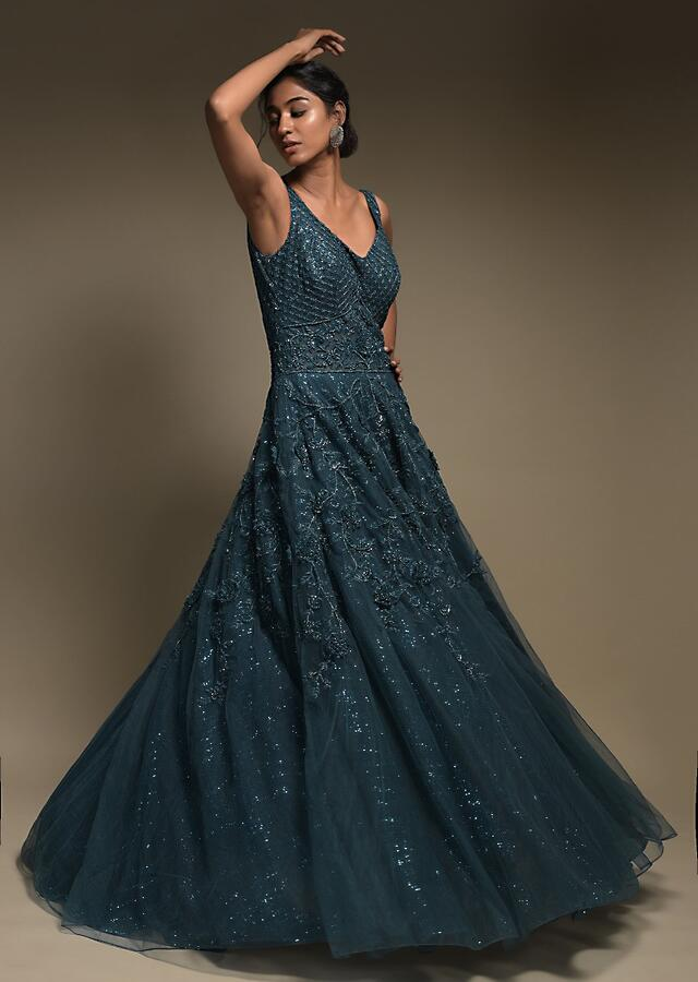 Teal Indowestern Gown In Net With Embellished Checks And 3D Floral Pattern Online - Kalki Fashion