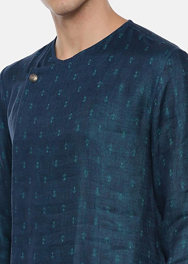 Teal Kurta Set In Linen With Self Buttis And Off Centre Placket By Mayank Modi